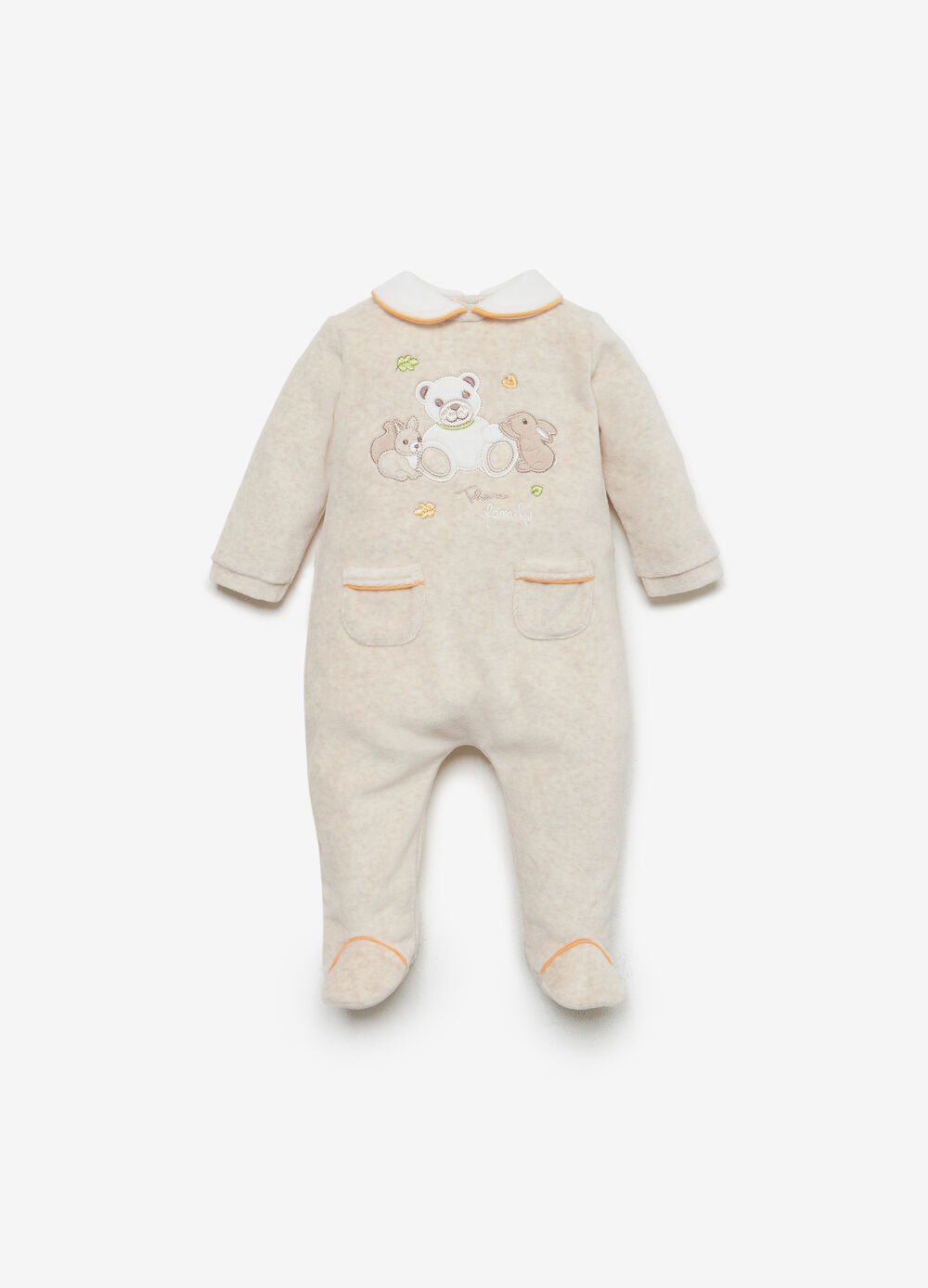 THUN cotton blend romper suit with pockets