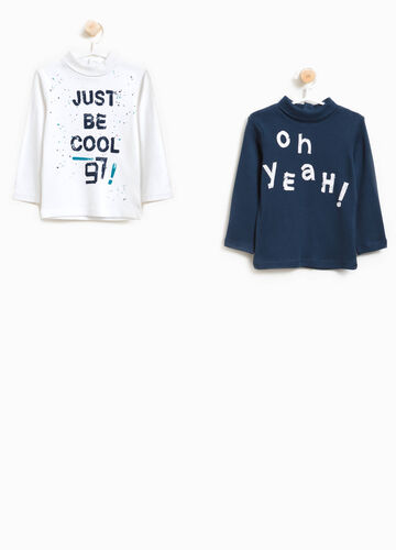 Two-pack cotton turtleneck jumper with lettering print