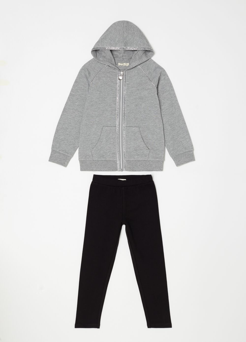 Sweatshirt and trousers jogging set with glitter
