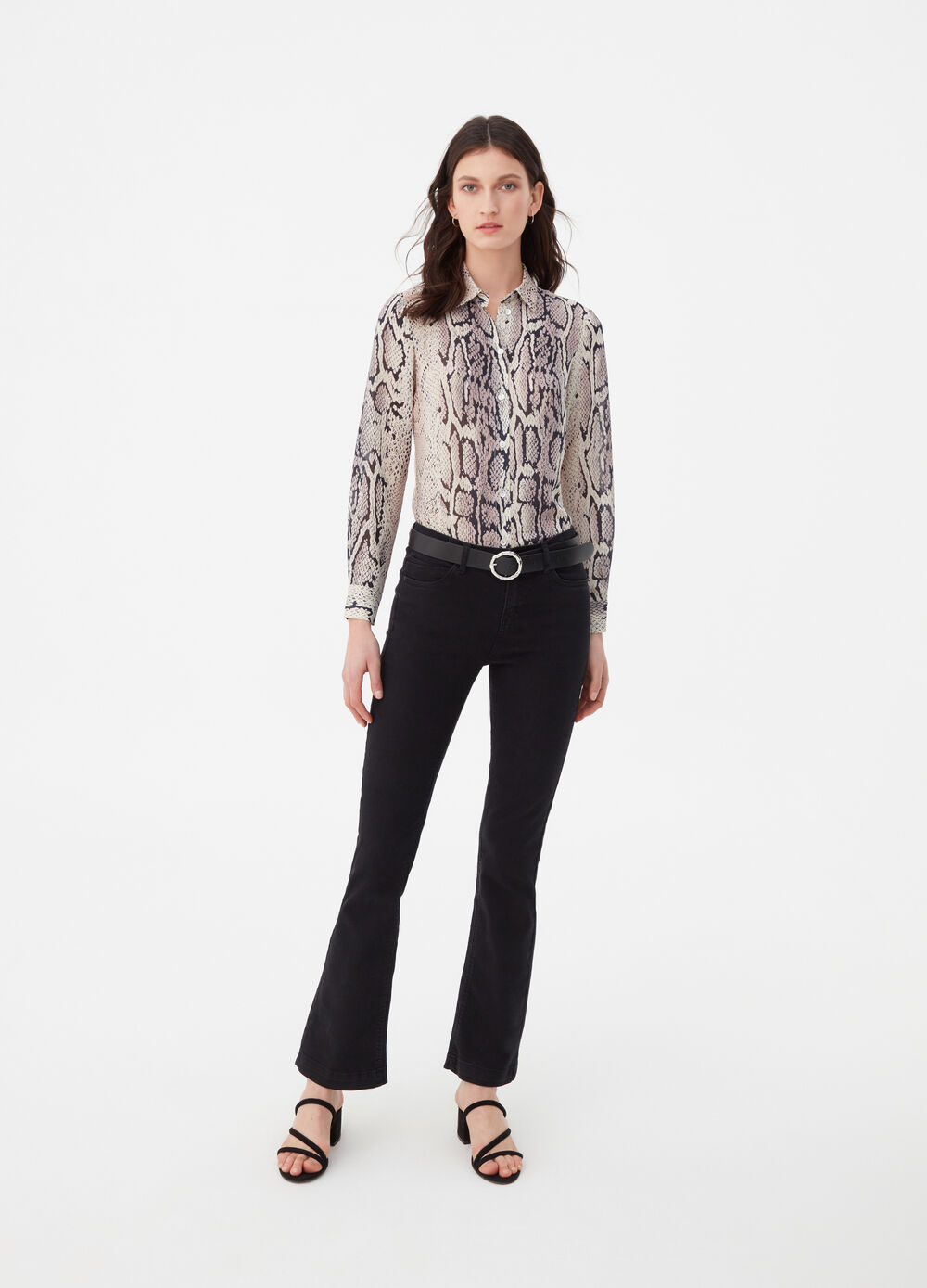Snakeskin print shirt with bluff collar