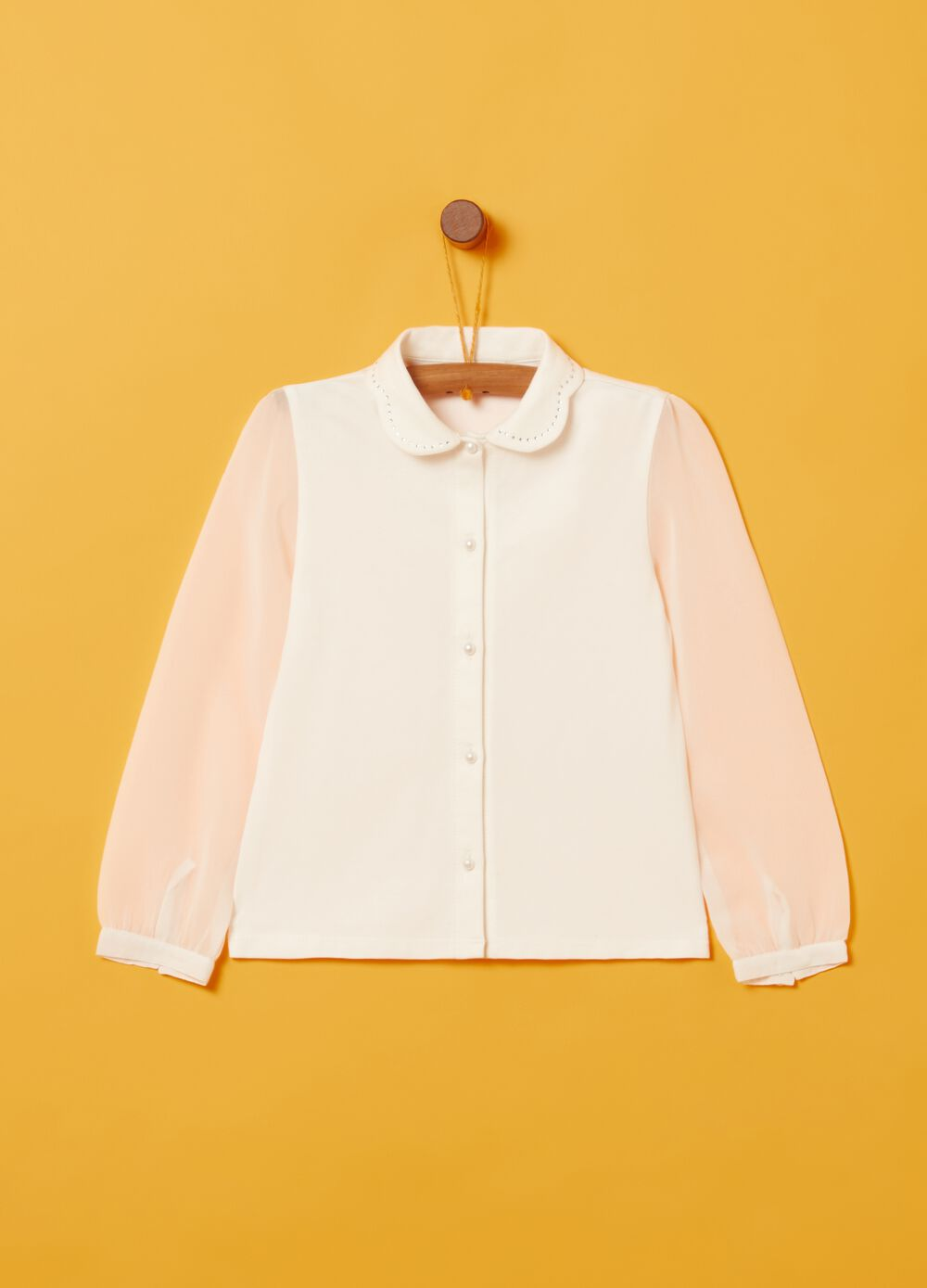 Stretch organic cotton shirt with small studs