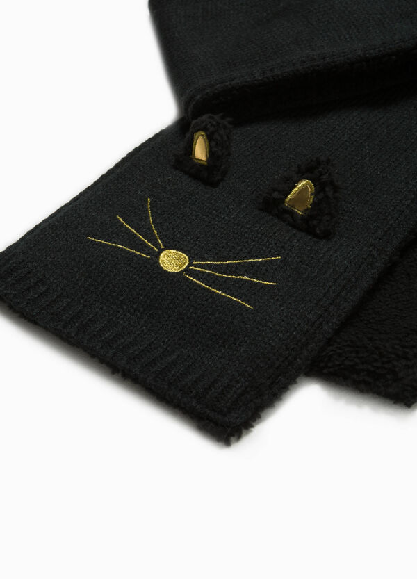 Knitted scarf with kitten embroidery | OVS