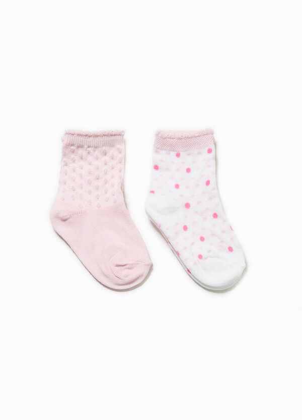 Short socks with speckled weave and polka dots