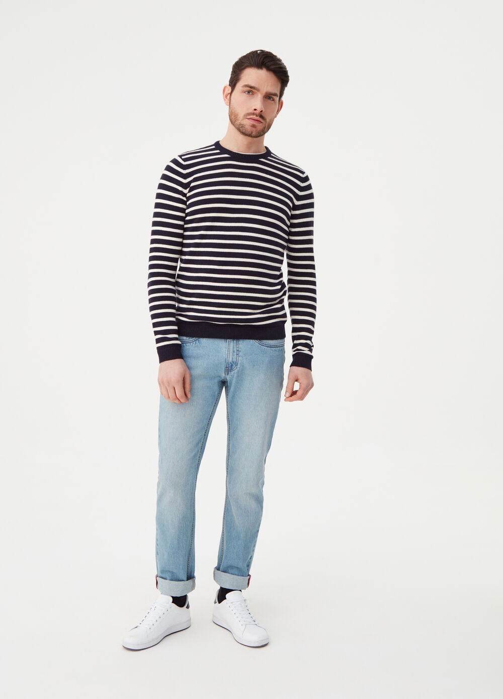 Knitted pullover with striped pattern