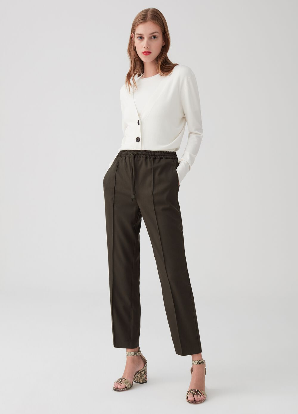 Twill trousers with drawstring and pin-tucks