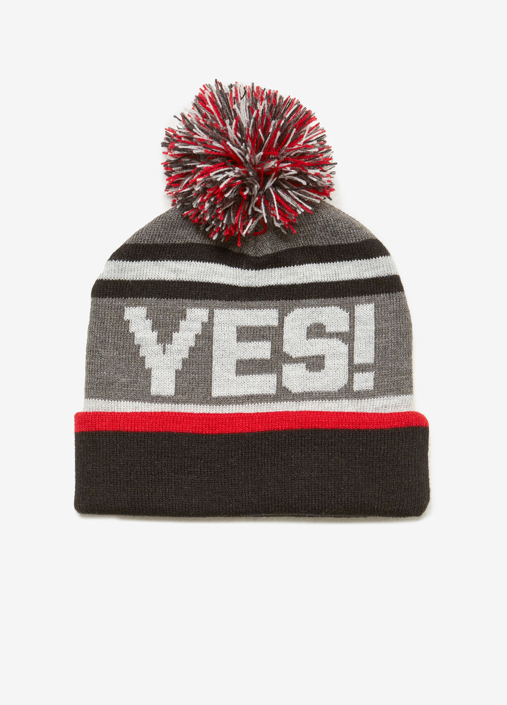 Knitted beanie cap with printed lettering