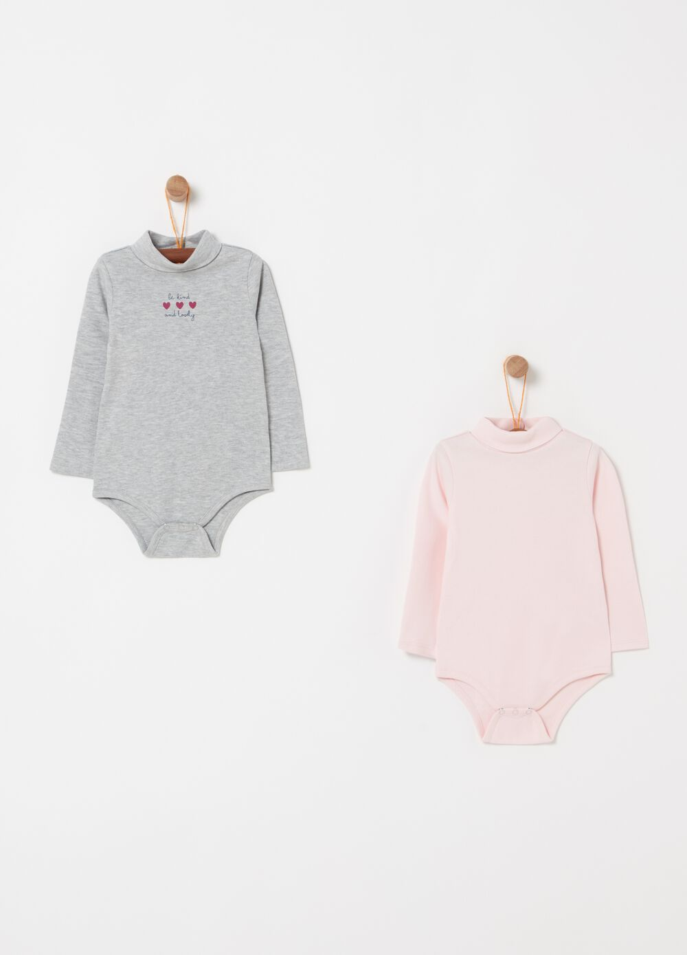 Two-pack bodysuits with long sleeves and high neck