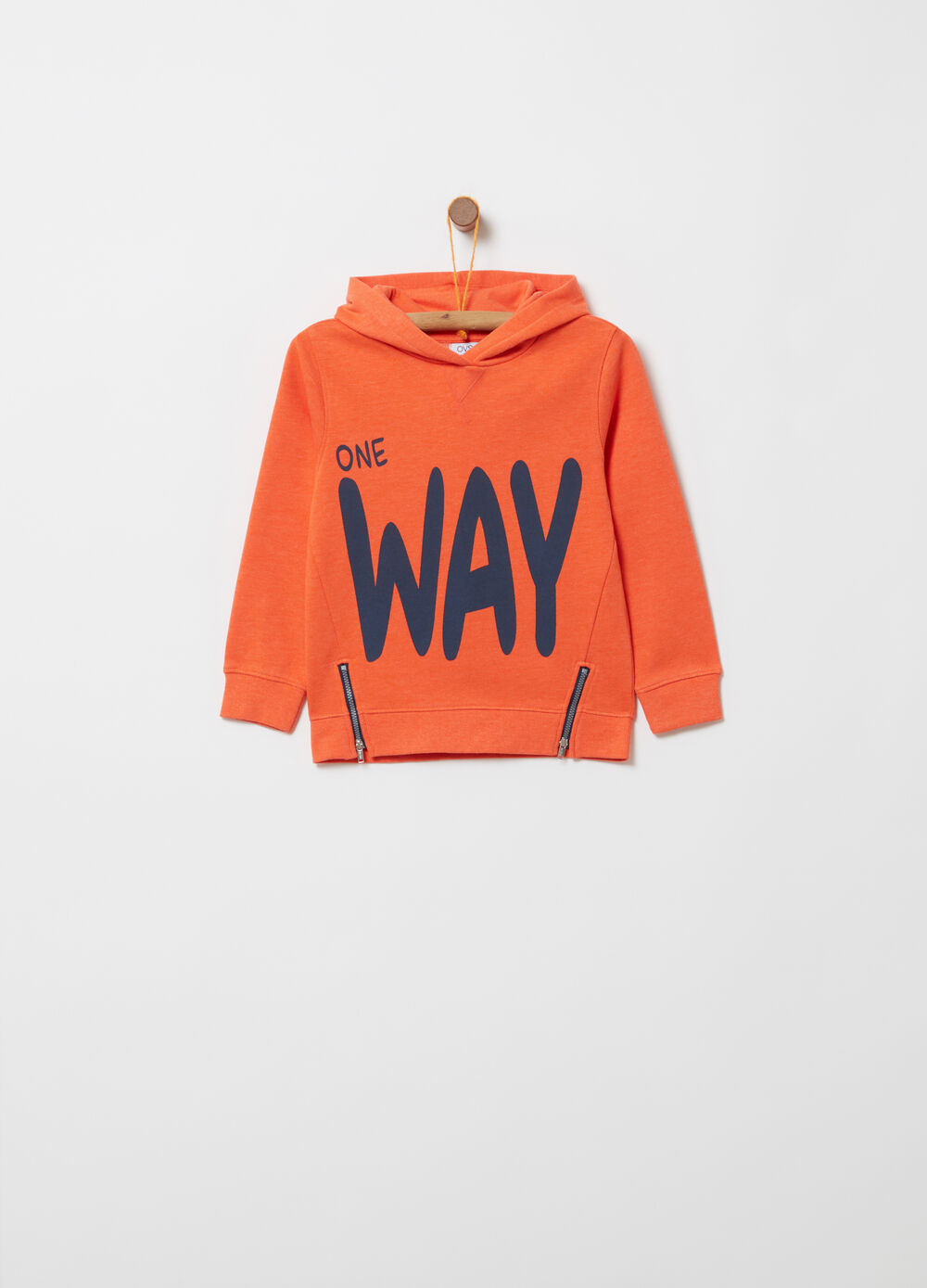 Heavy sweatshirt with zip and print