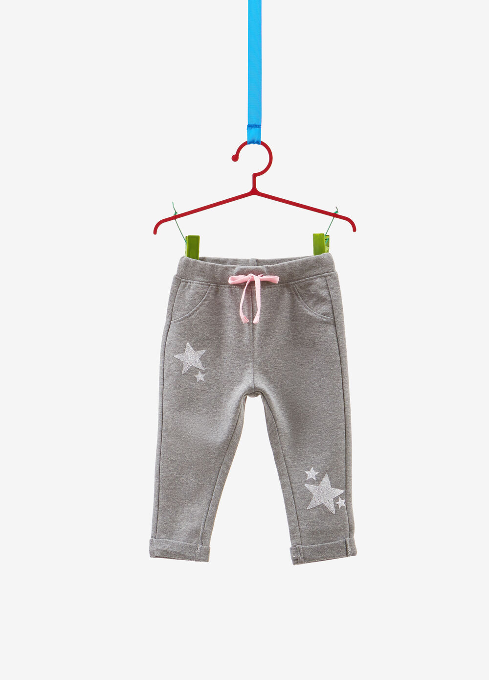 Stretch trousers with glitter stars print