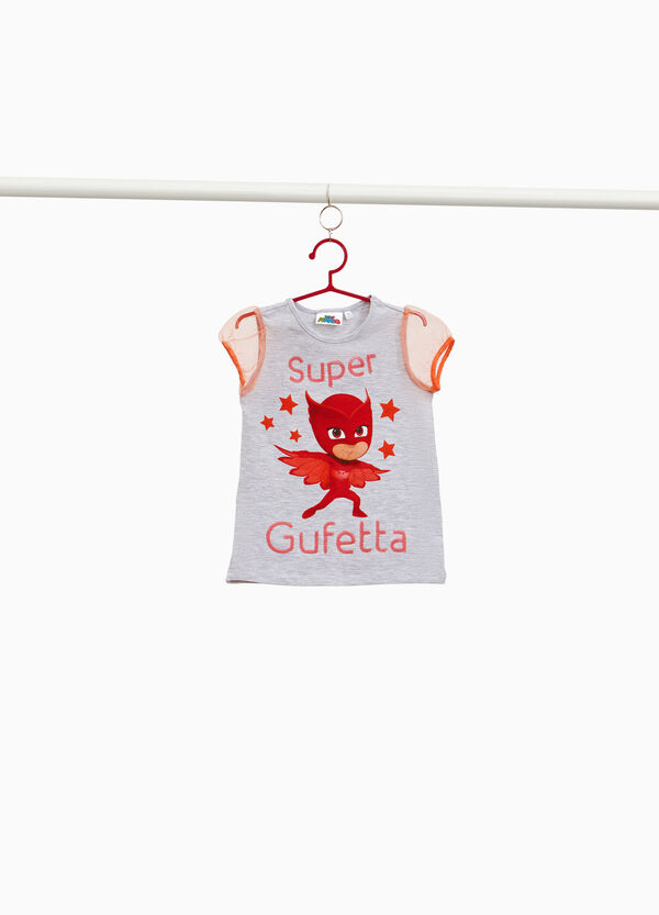 Stretch cotton T-shirt with PJ Masks embroidery