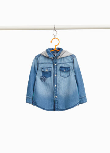 Denim shirt with print and patches