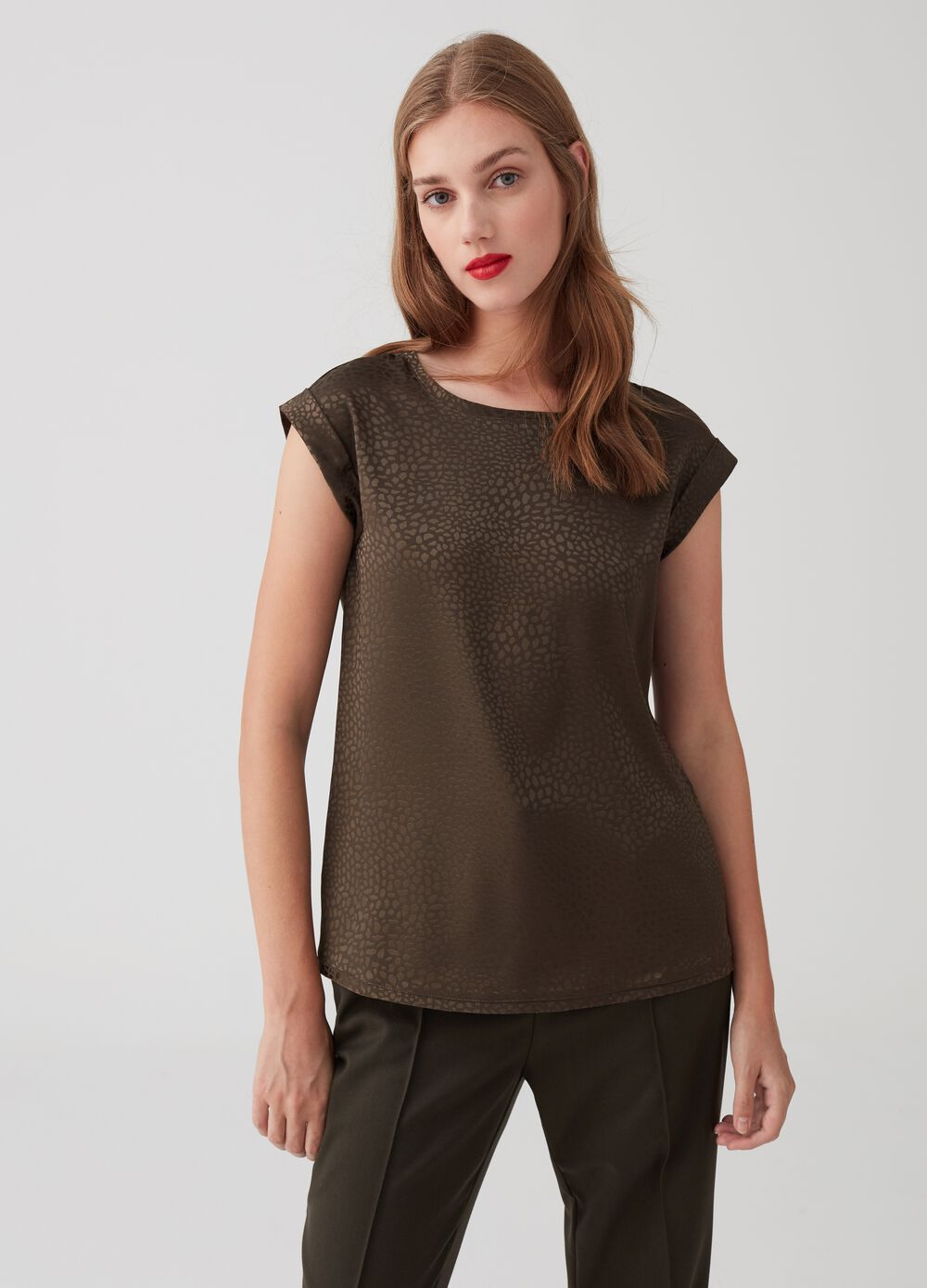 Jacquard blouse with cap sleeves