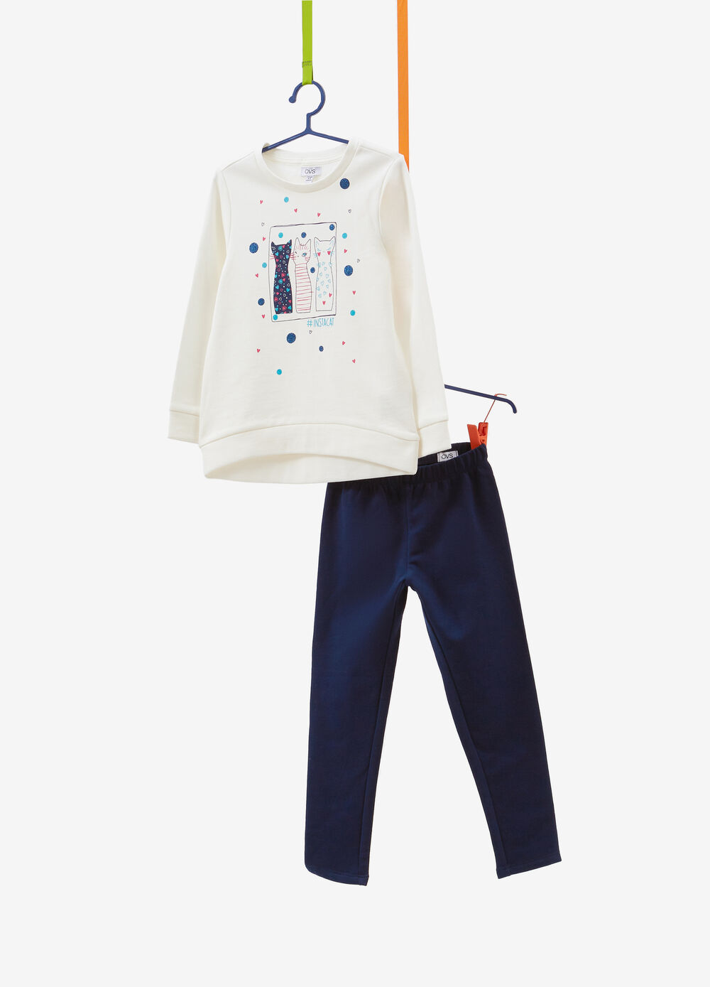 Cotton tracksuit with glitter polka dots and kittens print