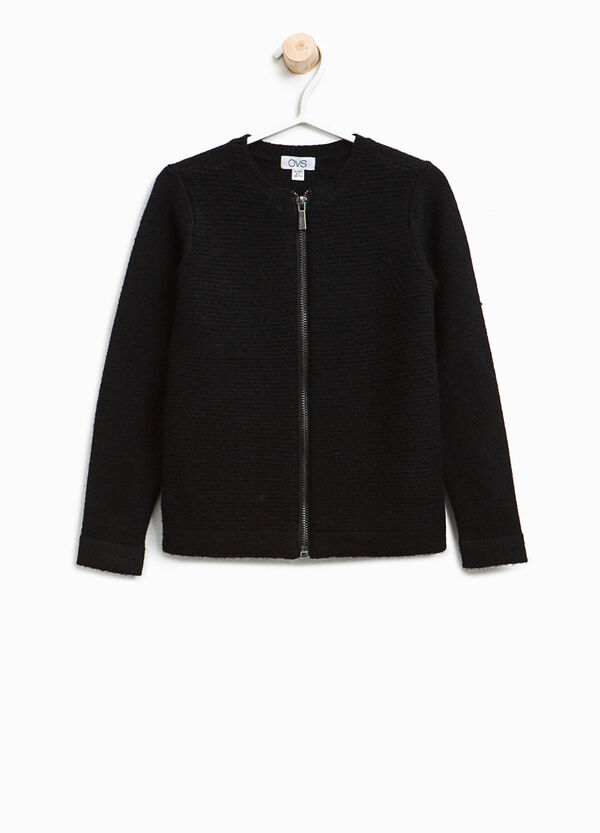 Knitted viscose cardigan with zip | OVS
