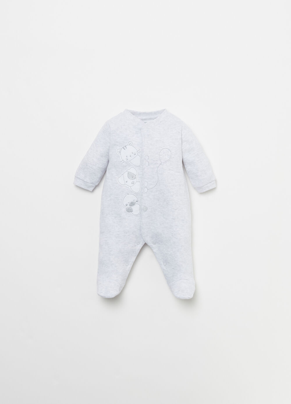 Cotton onesie with embroidery and applications