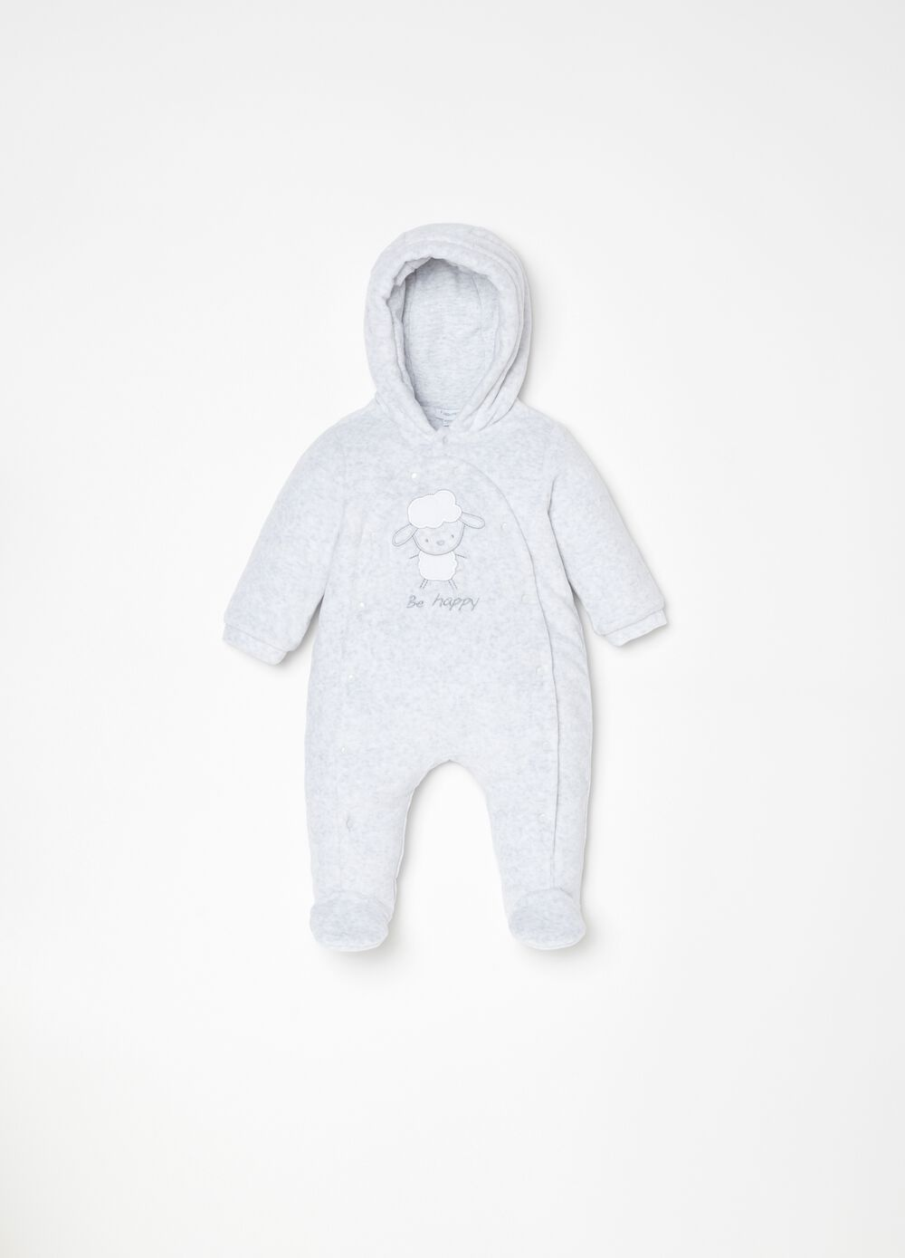 Padded onesie with mélange feet