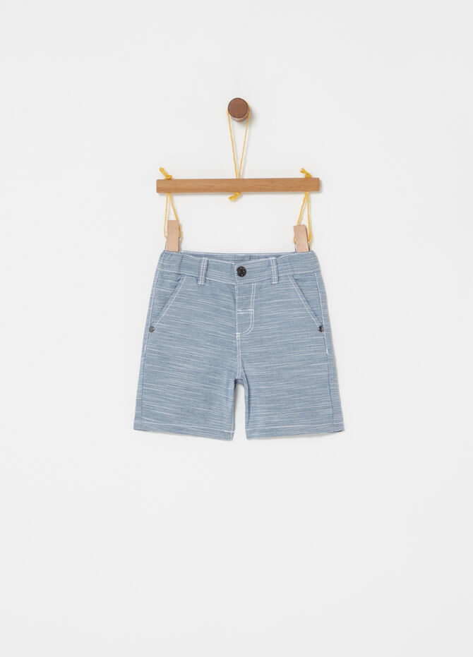 Iridescent-effect Bermuda shorts with pockets