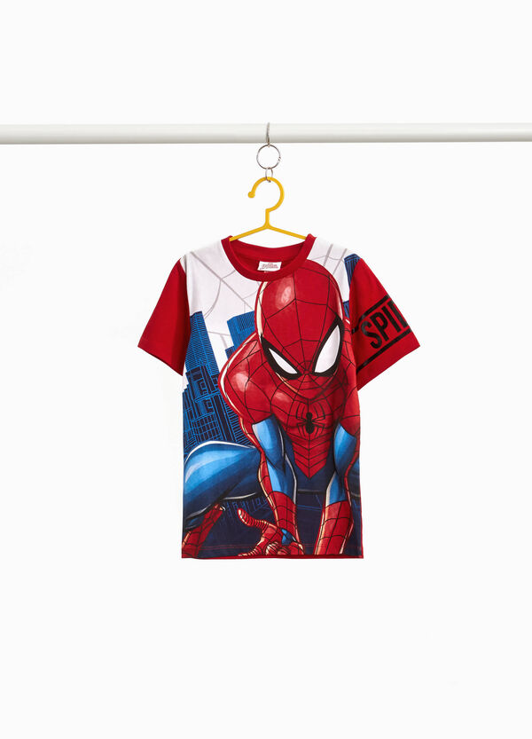 Cotton T-shirt with maxi Spiderman print