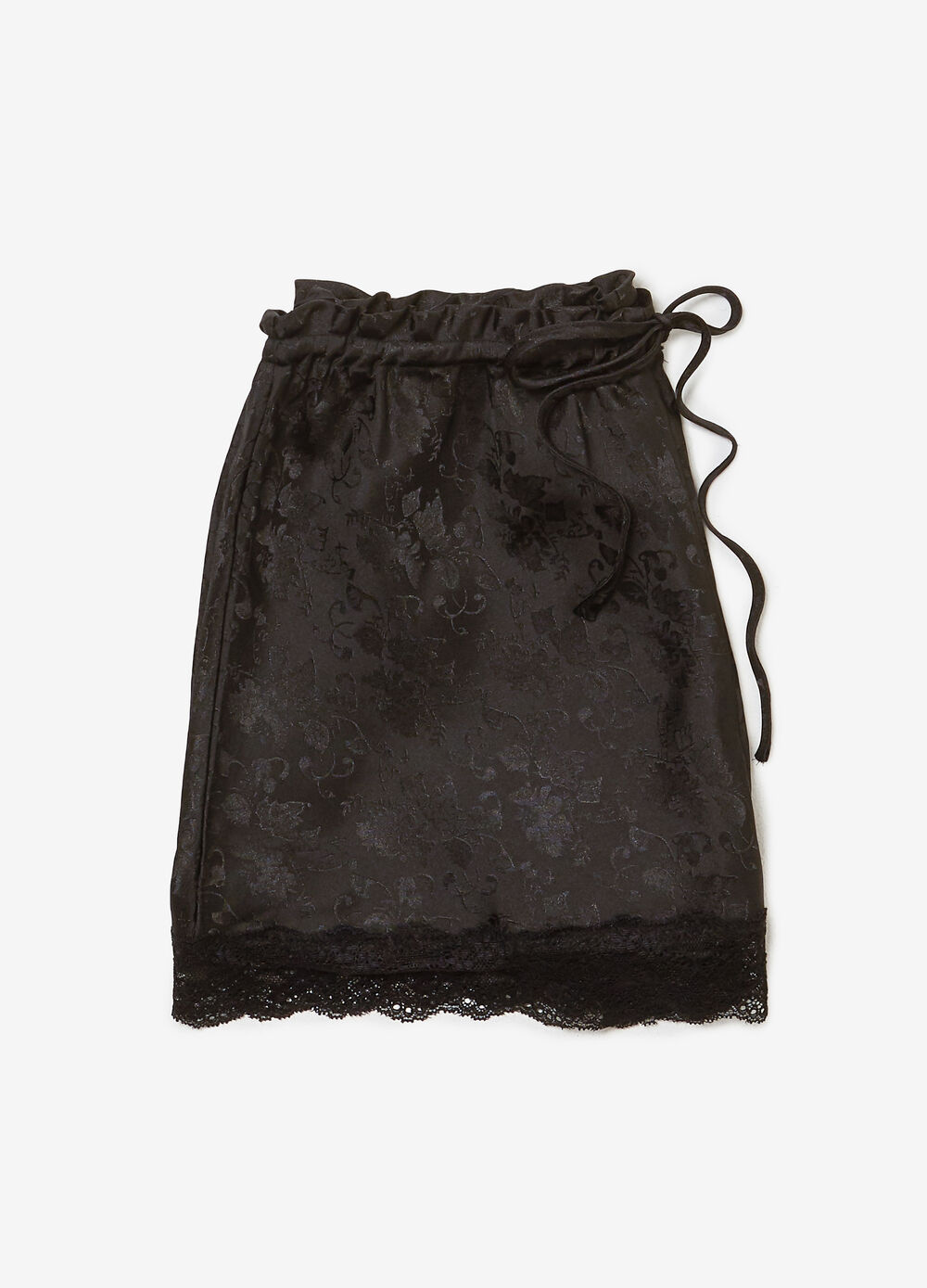 Floral satin pyjama shorts with lace