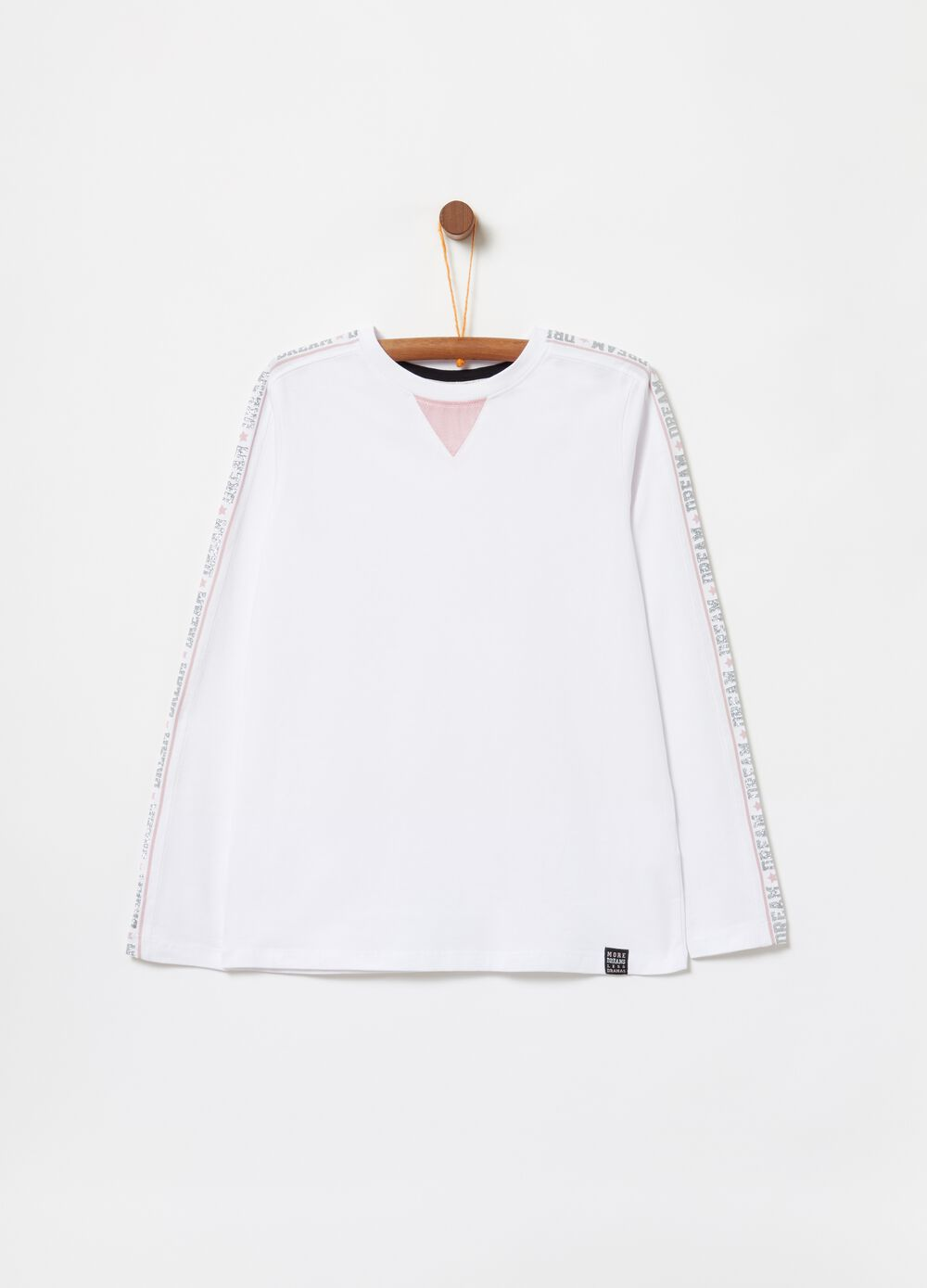 Stretch organic cotton T-shirt with glitter print