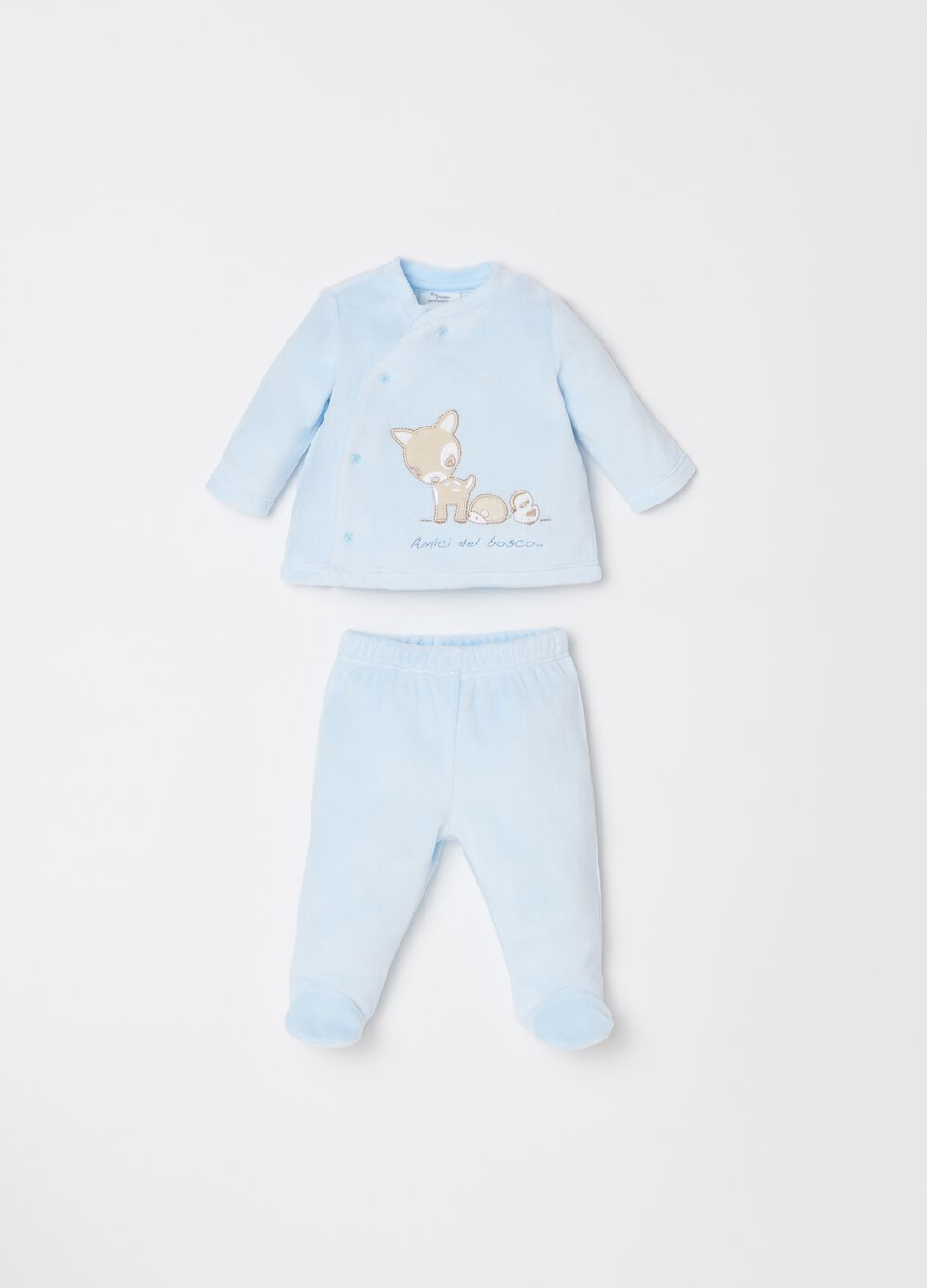 T-shirt and trousers set with feet and embroidery