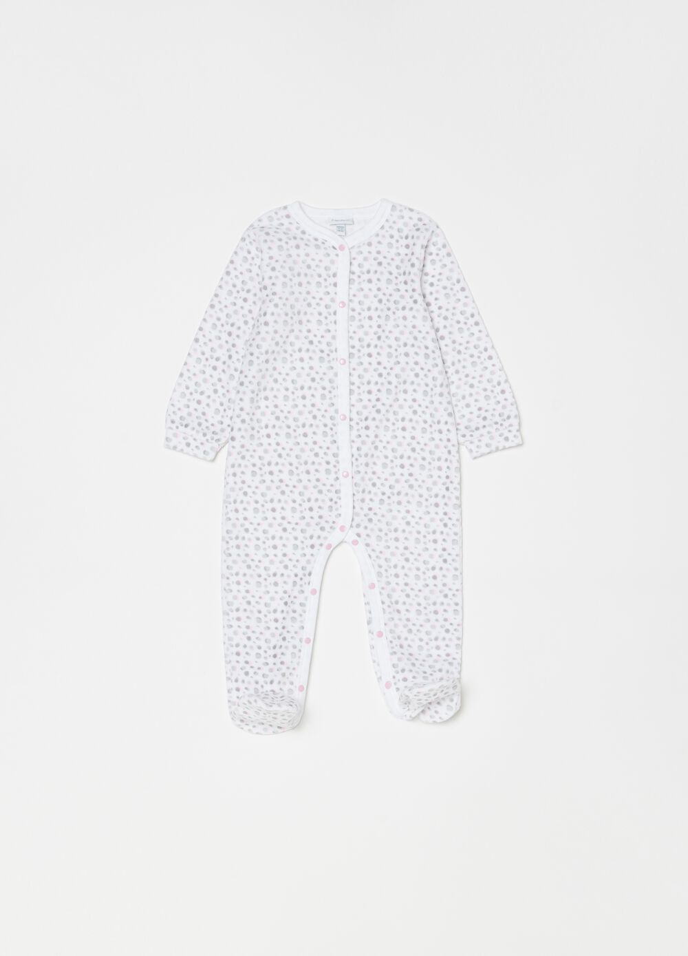 Onesie with feet and polka dot pattern