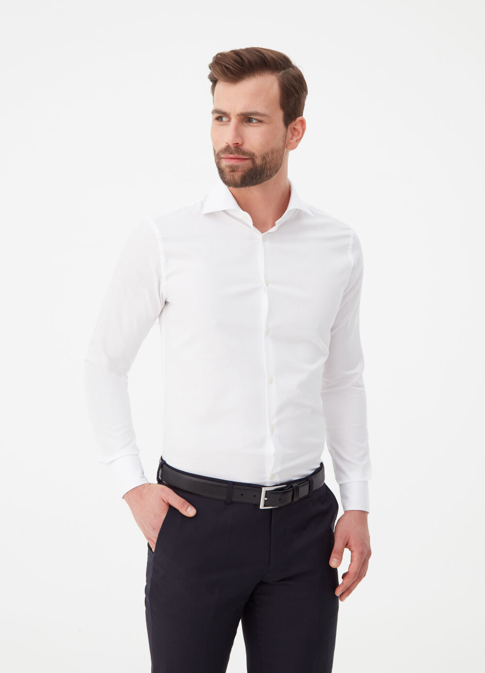 Camicia slim fit cotone colletto francese