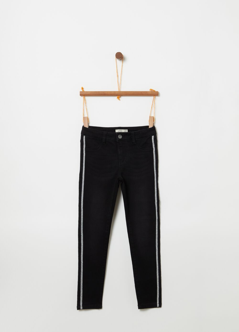 Superskinny-fit faded jeans with glitter