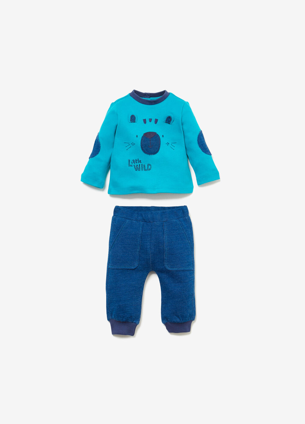 100% cotton outfit with animal patches