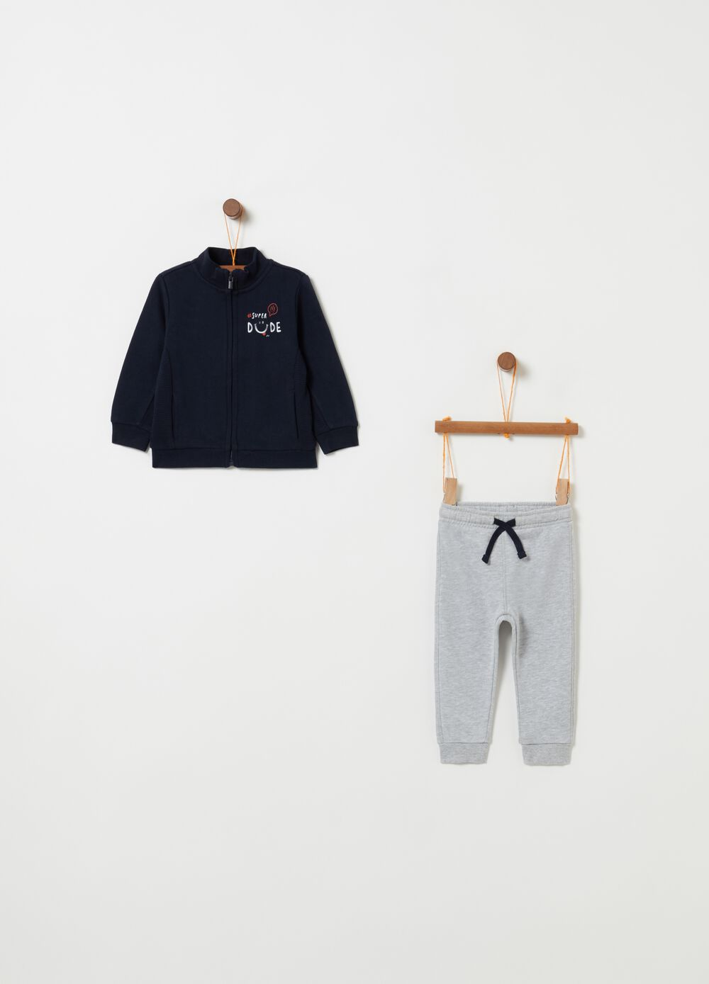 Jogging set with full-zip top and trousers
