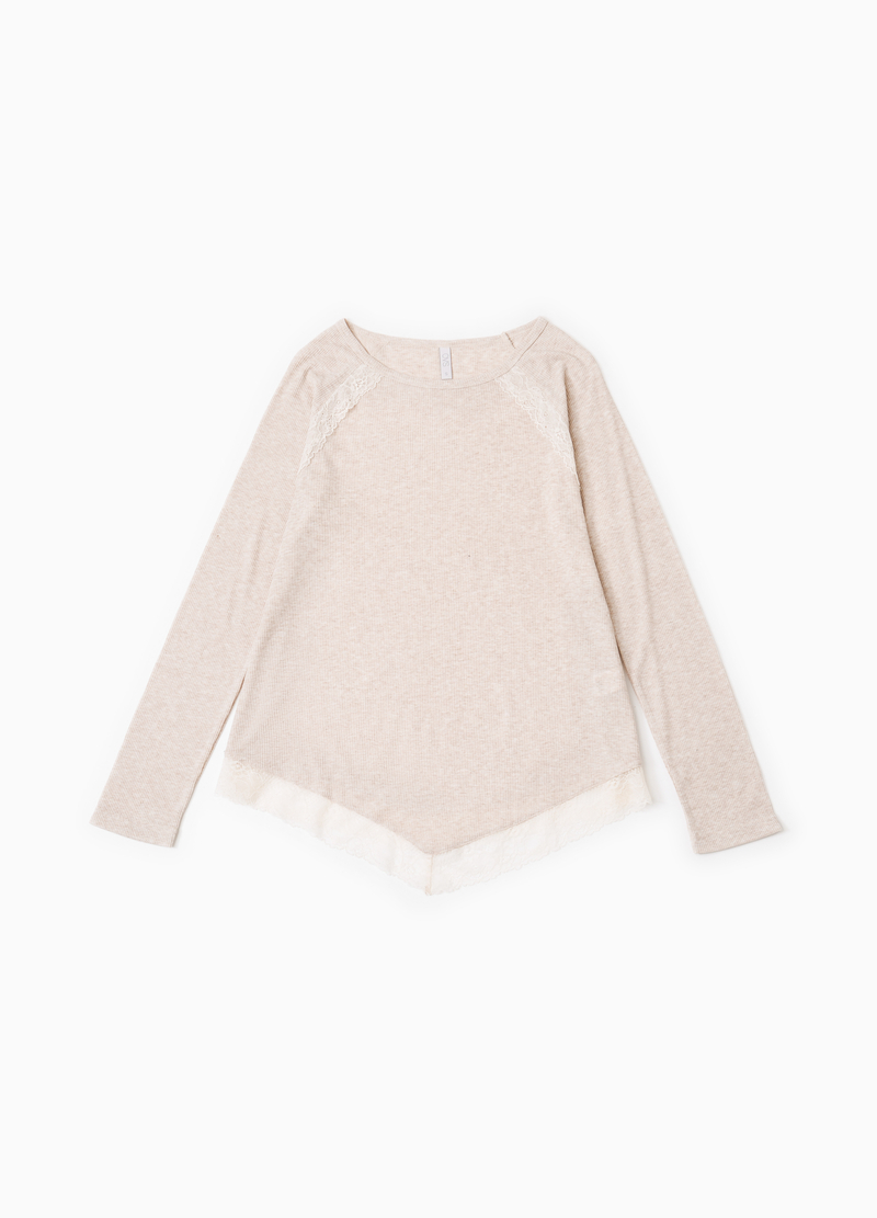 Ribbed pyjama top with lace image number null