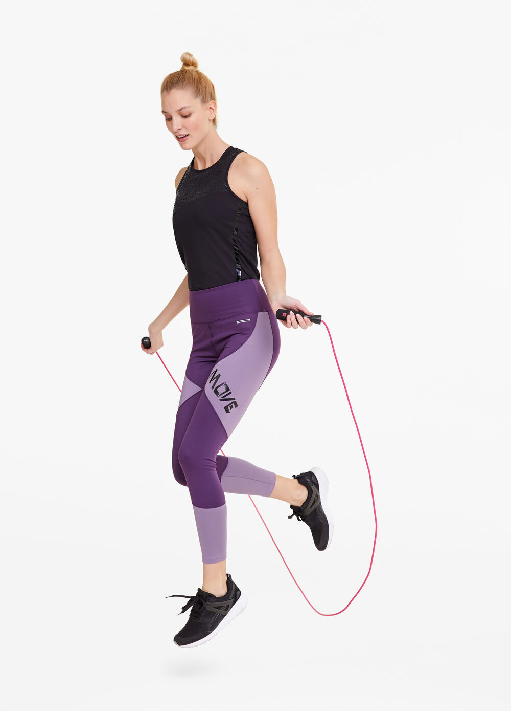 Two-tone gym leggings with lettering