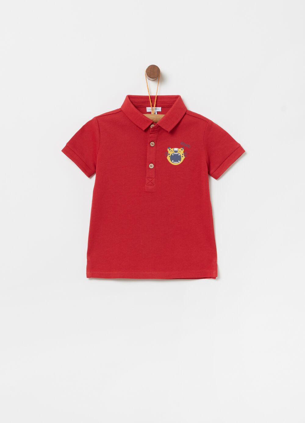 100% cotton polo shirt with ribbing and lion print