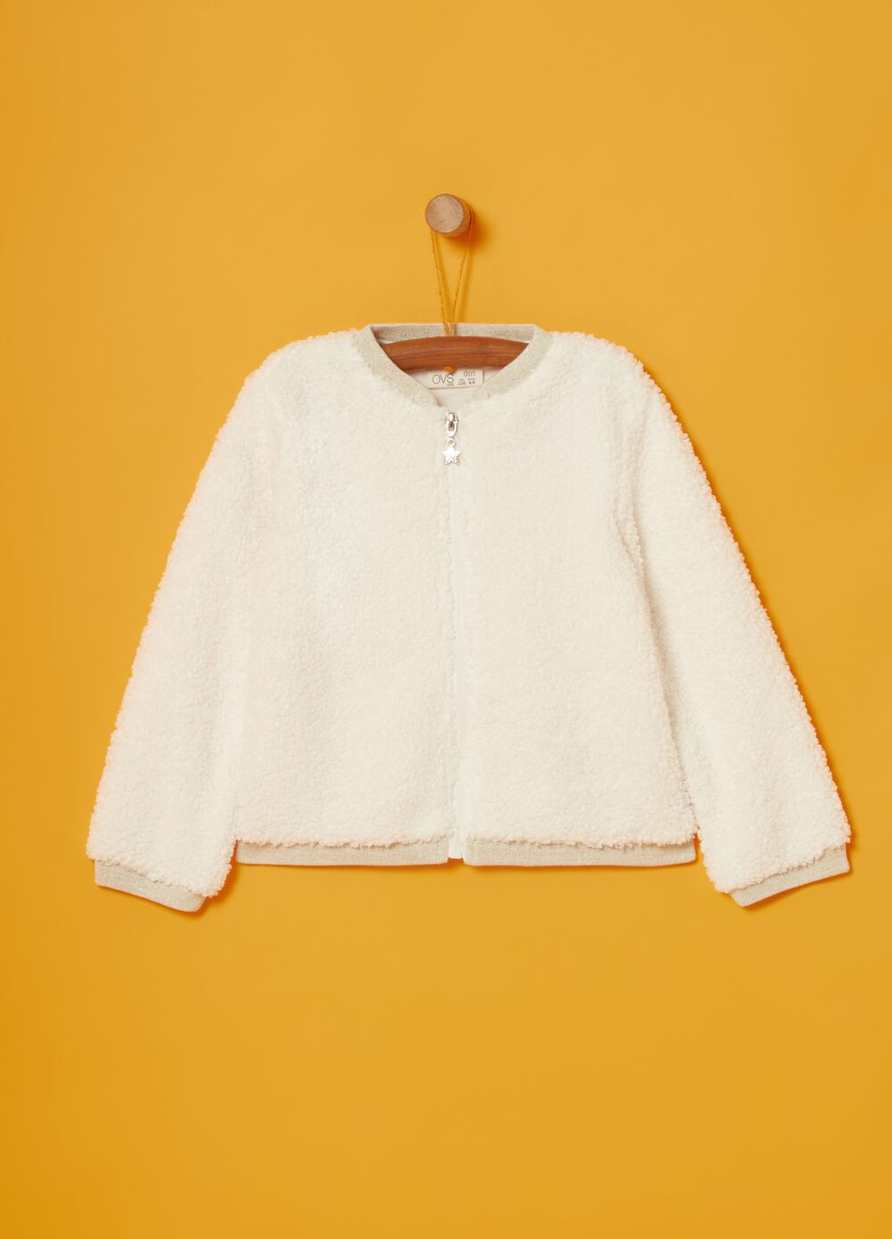 Sherpa-effect sweatshirt with glitter and zip