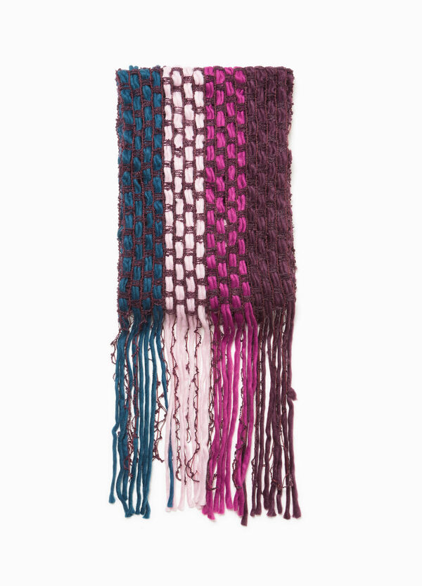 Scarf with long fringing and braided weave | OVS