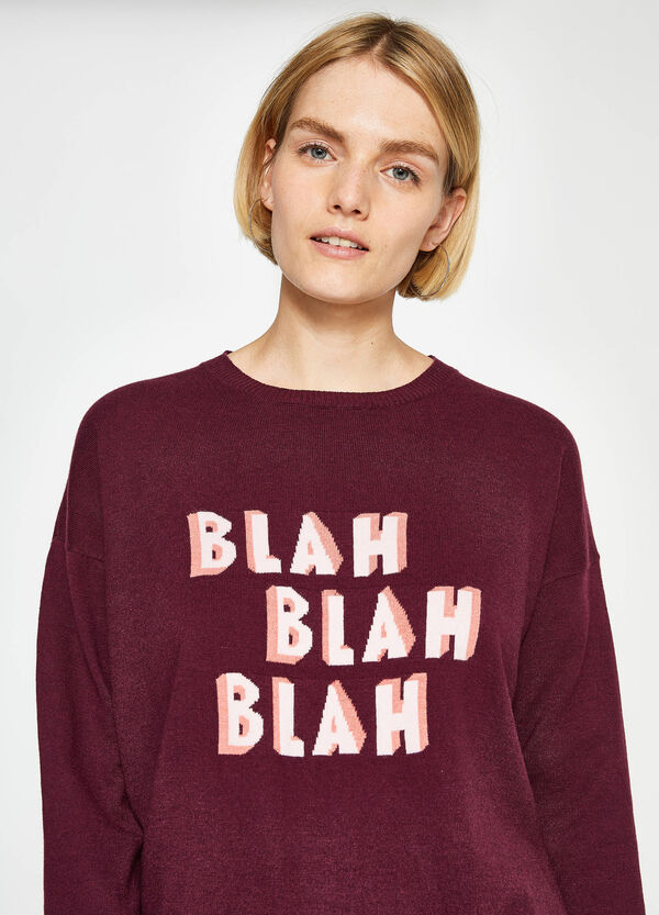 Knit pullover with lettering embroidery