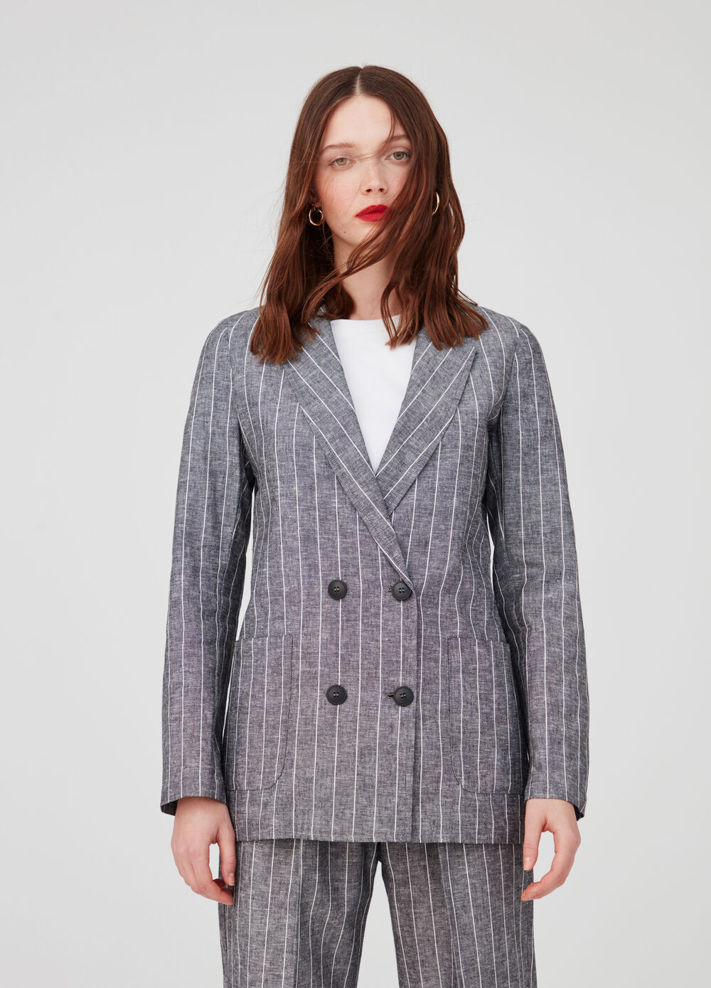 Striped cotton and linen double-breasted blazer