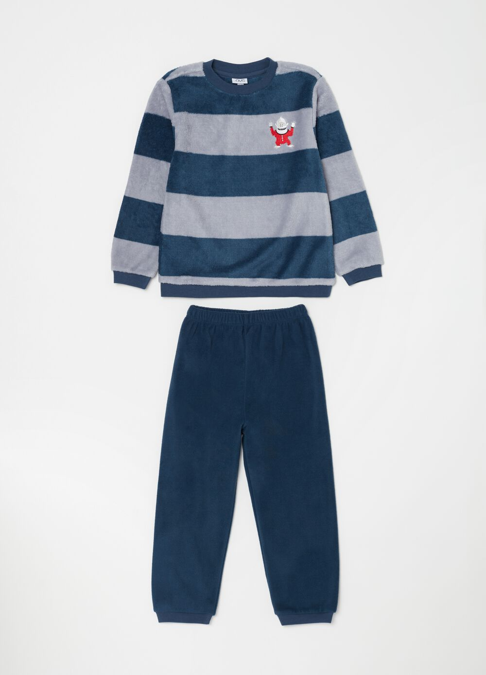 Long chenille-effect pyjamas with stripes