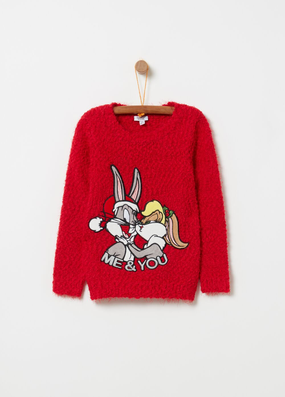 Knitted pullover with Lola and Bugs Bunny embroidery