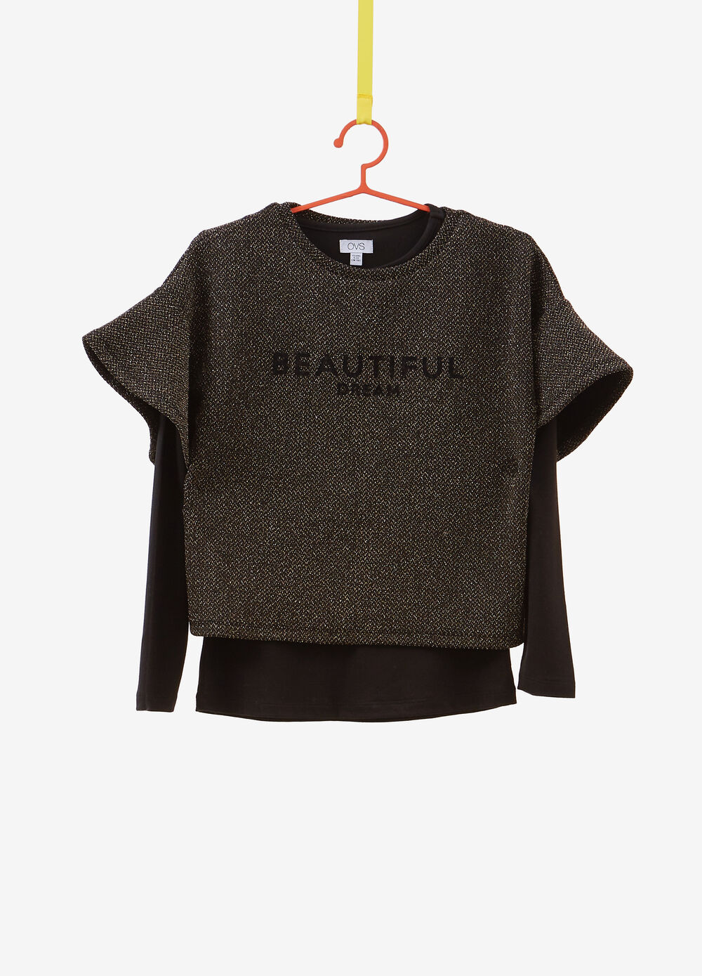 Faux-layered T-shirt with lettering and lurex