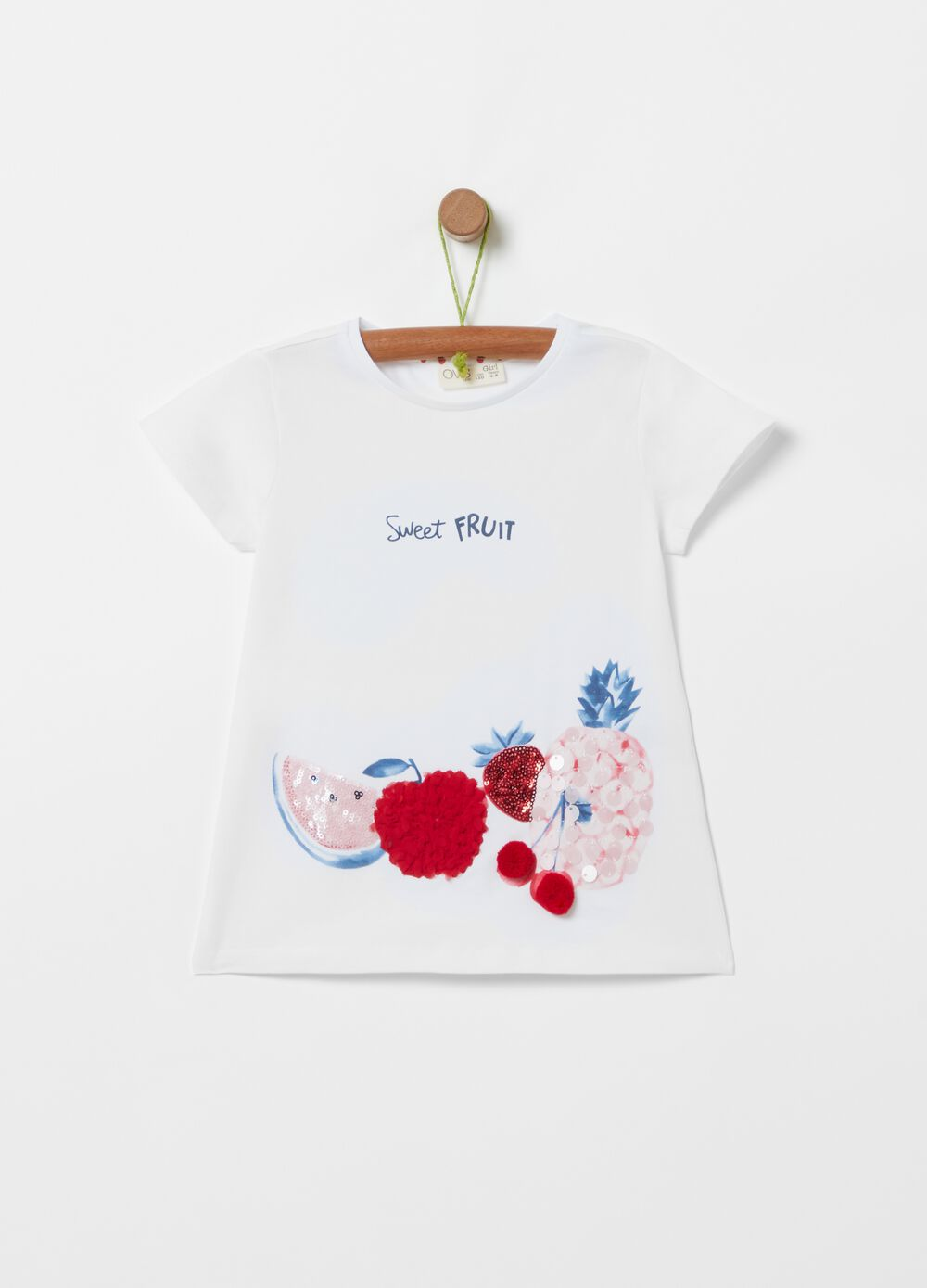 Stretch cotton T-shirt with fruit print