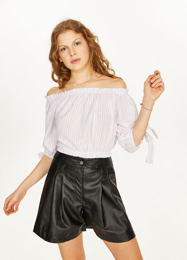 100% cotton crop blouse with bows