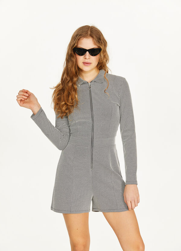 Stretch cotton playsuit with zip