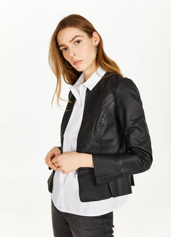 Leather look jacket with flounces