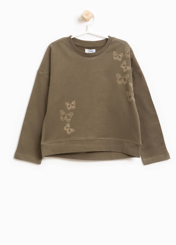 Sweatshirt in 100% cotton with butterfly diamantés | OVS