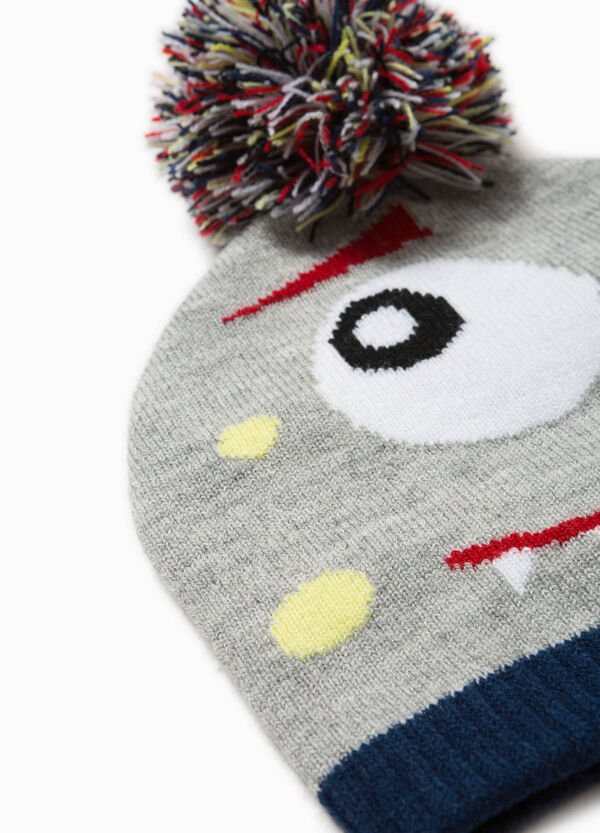 Embroidered beanie cap with pompoms | OVS