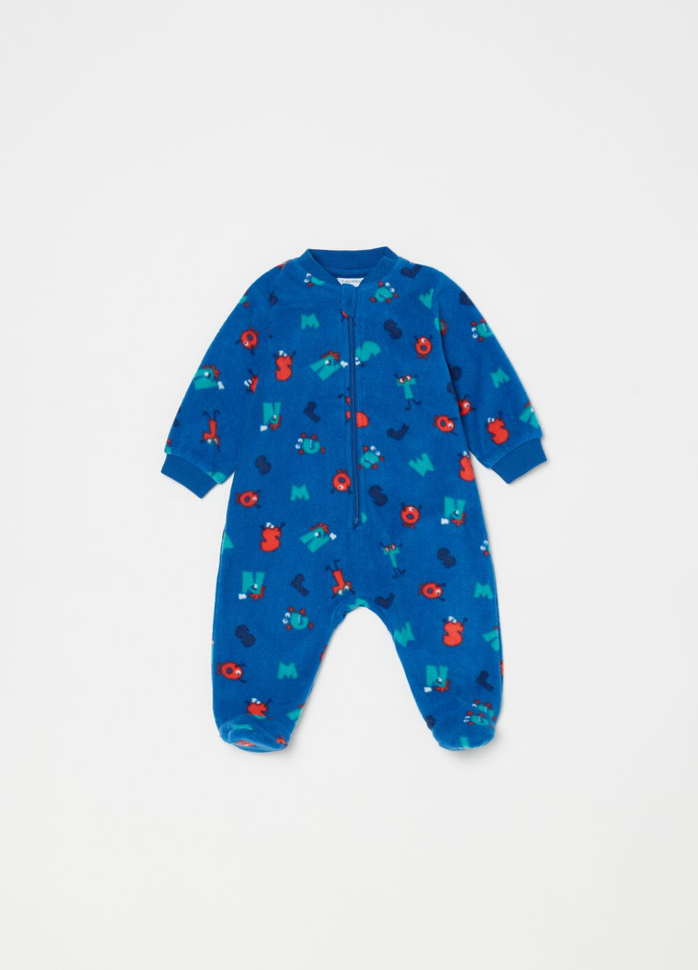 Onesie with feet and monsters pattern