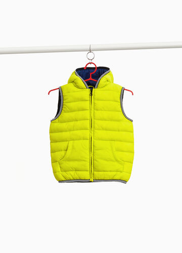 Padded gilet with striped trim