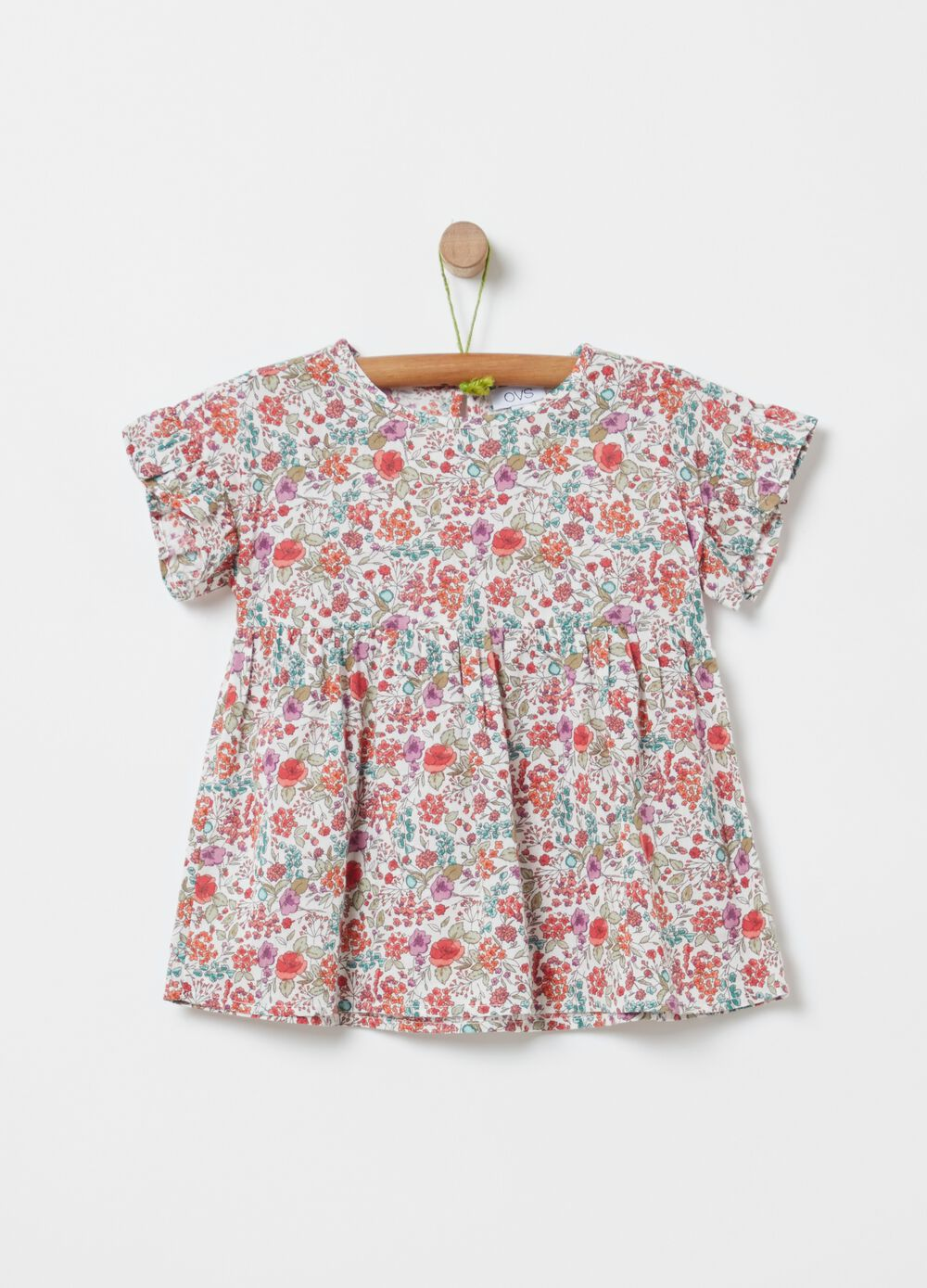 Floral blouse in 100% organic cotton