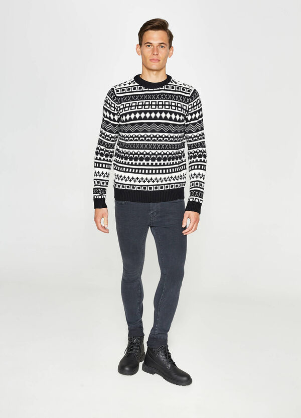 Patterned knitted jacquard pullover | OVS